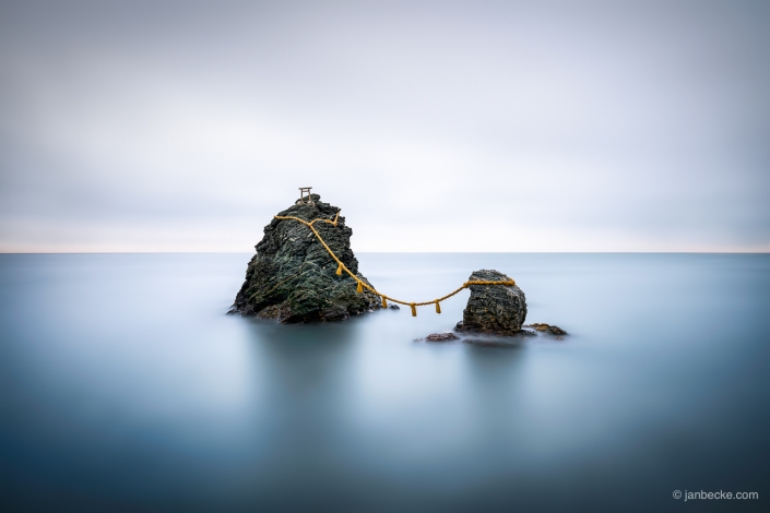 The Meoto Iwa also known as the Wedded Rocks are located near Futaminoura in the Mie Prefecture