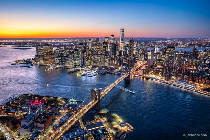 Aerial view of New York City with Brooklyn Bridge and Lower Manhattan