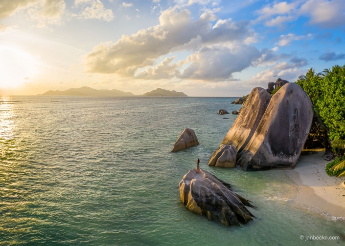 Beautiful sunset on the island of La Digue in the Seychelles