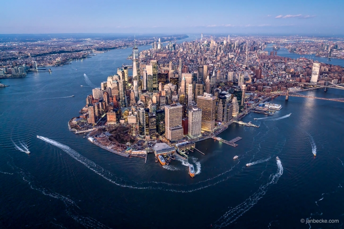 Aerial view of Lower Manhattan in New York City