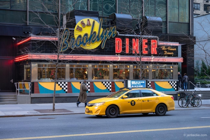 Traditional Diner with yellow cab