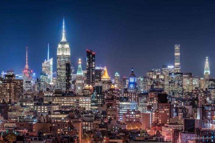 Empire State Building illuminated at night