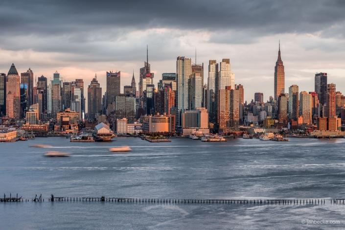 Manhattan skyline along the Hudson river in autumn